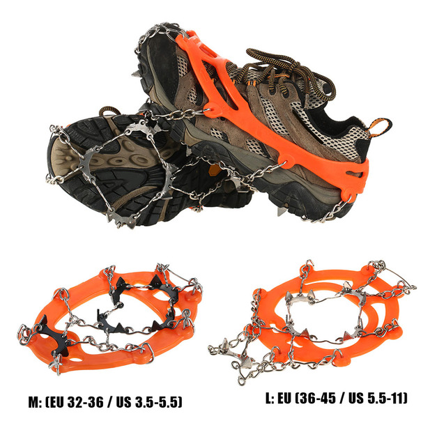 1 Pair 10 Denti Ramponi Antiscivolo Ice Gripper Scarpe Copertura In Acciaio  Inox Scarpa Stivale Grips 3002c32256f