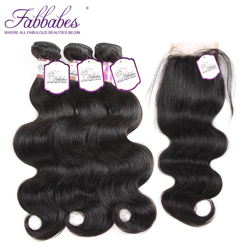 Fabbabes Hair Indian Body Wave 100% Human Hair With Lace Closure Bundle Deals 4*4 Free Middle Part Natural Color Remy Hair
