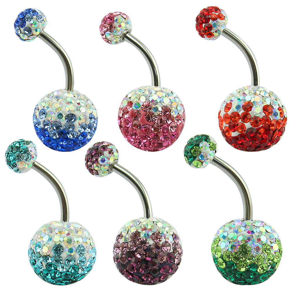 Mix Color Belly Navel Rings Piercing 14g Belly Navel Rings Ring Ballon Crystal Ball, Unaza për Gratë Vajza Vajza Seksi Trupi Seksi