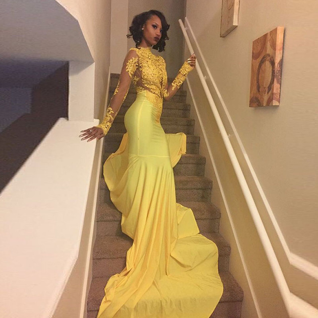 c5603bc42c4 Sexy African Black Girl Yellow Mermaid Prom Dresses 2019 Court Train  Appliques Lace Long Sleeve Prom Dress Evening Party Dress