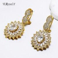 Big wedding jewelry women earrings shiny cubic zirconia crystal jewellery Gold color large party earrings