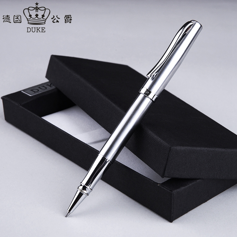 Duke 209 Luxury Pure Silver Rollerball Pen High Quality Metal Steel Ballpoint Pens with Original Gift Case Office Supplies Gifts цены онлайн