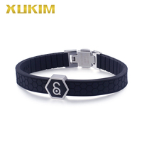 XMB128 Xukim Jewelry Titanium steel Health Magnet Bracelets Power Element Magnets germanite bangle men silica gel bracelets