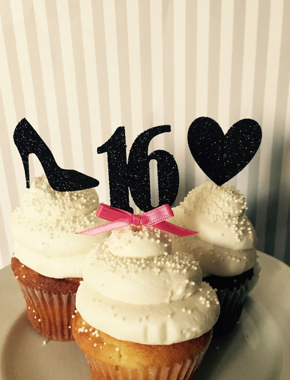 CUSTOM Number Glitter Lips Hearts 16th Birthday Cupcake Toppers Baby Bridal Shower Wedding Party Cake Decorations Food Picks