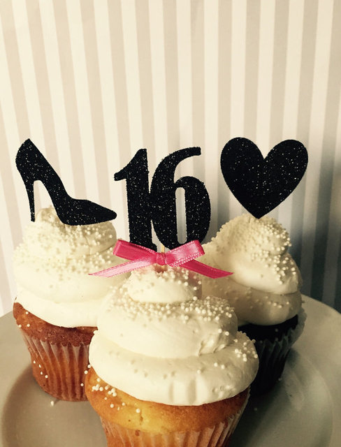 CUSTOM number glitter lips hearts 16th birthday cupcake Toppers baby