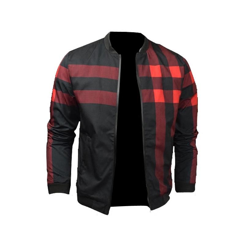 Classic Plaid Men's Jacket Coat Fashion 2018 Bomber Jacket Men Autumn Mens Clothing Windbreaker Man Casual Male Jackets Plus 2XL