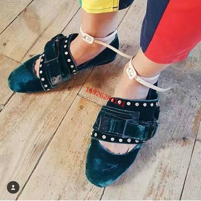 f6eab1dc19 Malachite Green/Nude/Black Velvet Ballerina Flats 2019 Stylish Round Toe  Designer's Buckles Crystal Loafers Women Casual Shoes