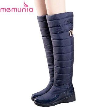 MEMUNIA Rosja zima buty damskie ciepłe kolana wysokie buty okrągłe toe dół futro panie moda udo śnieg buty wodoodporne botas