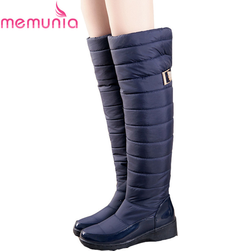MEMUNIA Rusia invierno botas mujer caliente rodilla botas punta redonda piel moda muslo nieve botas impermeables botas