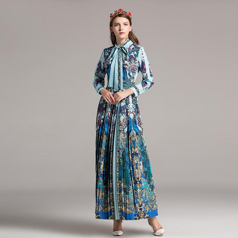 Vintage Nouveau Floral Revers Longues Printemps Automne Et Dr 2018 Manches Imprimé High Piste Femmes Paon Lady Pleathed Bleu Dentelle À Street t7qpOwC