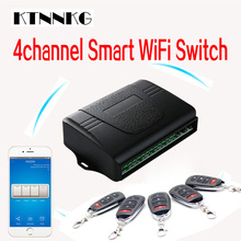 hot deal buy ktnnkg smart home 4ch wifi remote control switch universal garage door receiver with ev1527 433mhz rf remote controls dc 7-36v