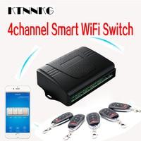 KTNNKG Smart Home 4CH wifi remote control switch universal garage door receiver with Ev1527 433MHz RF remote controls DC 7 36V