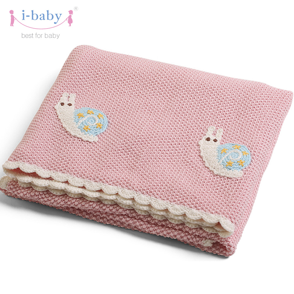 i-baby Baby Blanket Cotton Knitted Baby Bedding Snail Crochet Newborn Swaddling