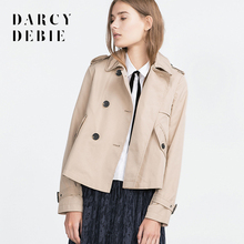 Darcydebie  Women Clothing  Winter Outwear New Double Breasted British style Loose Short Camel Tops Long Sleeve Sea Blue Coat
