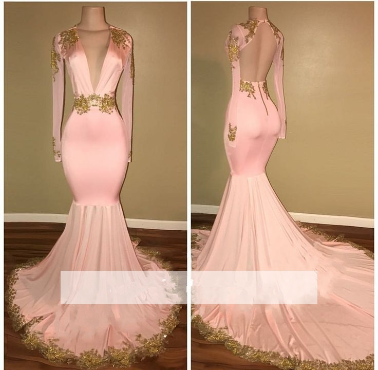 Pink 2019   Prom     Dresses   Mermaid Deep V-neck Appliques Lace Backless Party Maxys Long   Prom   Gown Evening   Dresses   Robe De Soiree