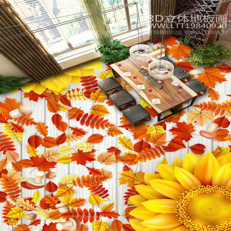 Free Shipping maple leaves of sweet - scented osmanthus wood board 3D plant flowers floor mural custom high-quality wallpaper цена и фото