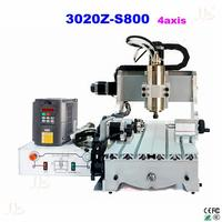 EUR Free Tax Cnc Router 3020Z S800 4 Axis With 800W Spindle Mini Cnc Lathe Machine