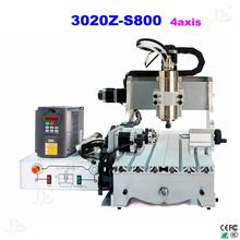 EUR free tax cnc router 3020Z-S800 4 axis with 800W spindle mini cnc lathe machine for metal wood