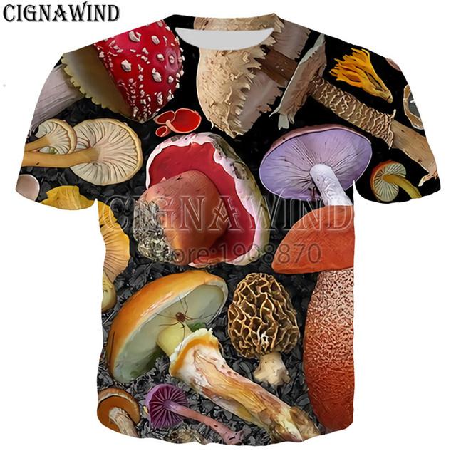 New arrive fashion popular mushroom collage t shirt men women 3D printed Novelty harajuku tshirt streetwear casual summer tops