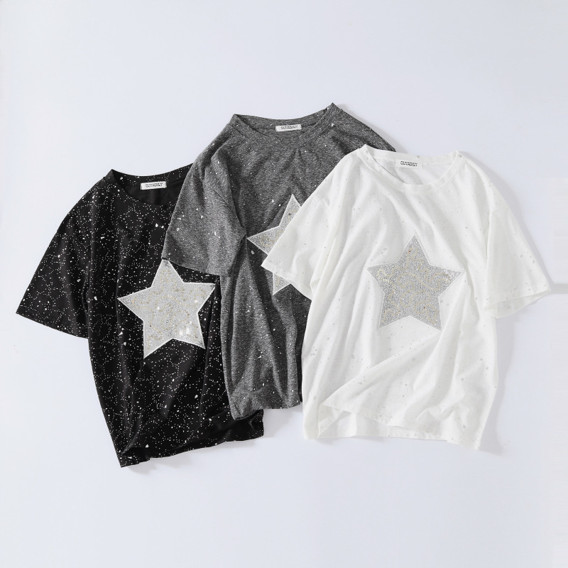 New Summer Female Render Unlined Upper Garment Sparkling Stars T Shirt Hot Silver Ulzzang Loose Short Sleeve Tee Students