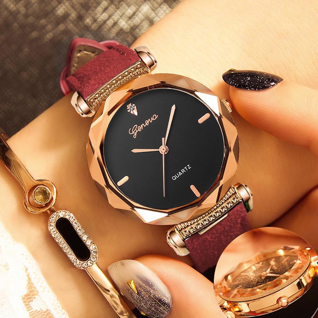 Geneva Elegant temperament Women 's Leather Band Geneva Analog Quartz Diamond Wrist Watch Watches Reloj de dama Y5