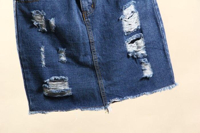 Летняя новинка, Модные женские повседневные потертые юбки с высокой талией, рваные джинсовые юбки, короткие юбки для женщин