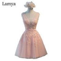 Lamya Pink V Neck Plus Size A Line Lace Prom Dresses 2017 Gray Short Elegant Evening