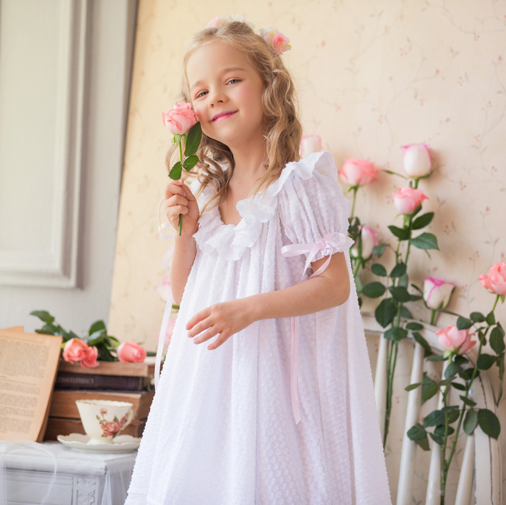 Children Clothing Summer Dresses Girls Baby Pajamas Cotton Princess Nightgown Kids Home Cltohing Girl Sleepwear retail dresses for girls kids baby girl dress princess summer stripe dresses cotton pocket children clothing jm6828 mix