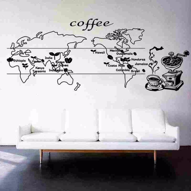 Coffee world map food decal cafe poster vinyl sticker art wall coffee world map food decal cafe poster vinyl sticker art wall decals pegatina quadro parede decor gumiabroncs Image collections