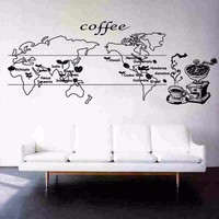 Coffee World Map Food Decal Cafe Poster Vinyl Sticker Art Wall Decals Pegatina Quadro Parede Decor Mural Coffee Sticker
