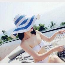 лучшая цена Sunshade hat Korean version of the new classic black and white stripes along the beach straw hat sunscreen sun hat