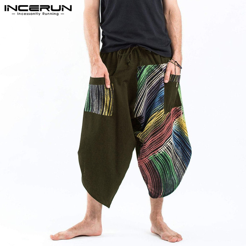 INCERUN Thai Ethnic Style Harem Pants Men Joggers Print Pockets Hip-hop Casual Trousers Men Loose Drop Crotch Cross-pants 2020