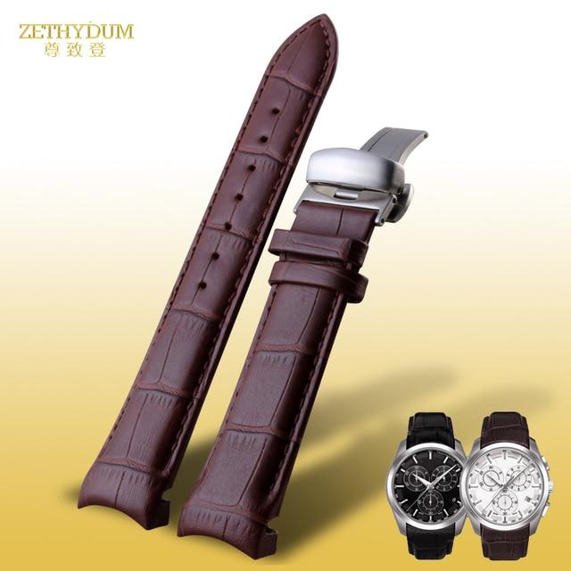 Hakiki deri saat kayışı erkek watchband bilezik 22 23 24mm saat kayışı tissot için T035 627A 439 aksesuarları kelebek toka