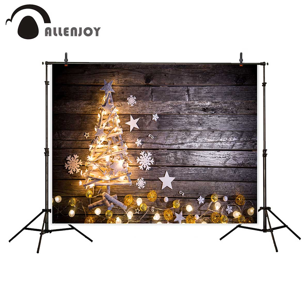 Allenjoy photographic background Christmas shiny tree wood stars snowflake backdrop professional fantasy props