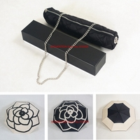 12pcs/lot Classic pattern Camellia Flower logo Umbrella For Women 3 Fold Luxury Umbrella with gift Box And Bag Rain Umbrella