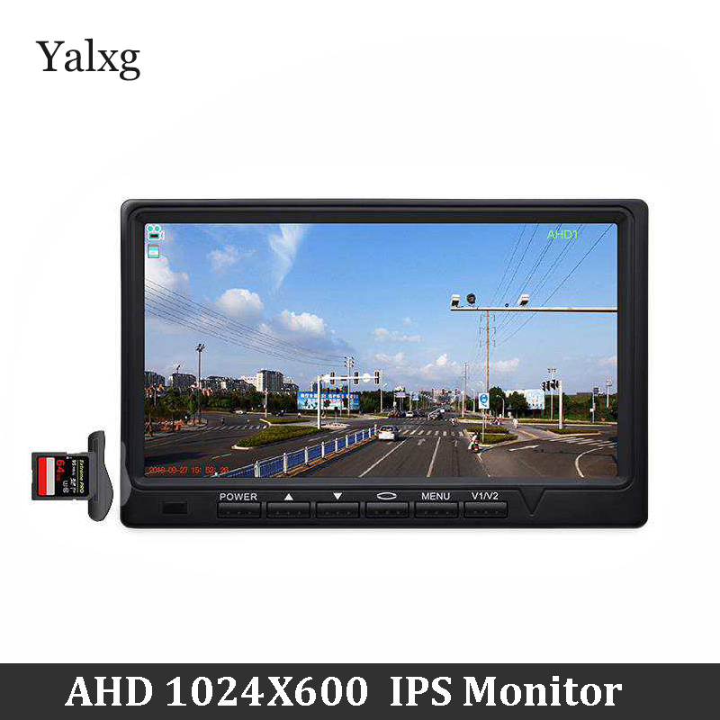 Full HD Mini 1024*600 7 Inchs CCTV Home Security AHD Camera Monitor Car Surveillance IPS Display Build-In Mic TF Card Supported