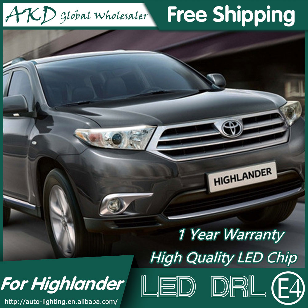 AKD Car Styling LED DRL for Toyota Highlander 2012-2014 Highlander Eye Brow Light LED External Lamp Signal Parking Accessories akd car styling led drl for kia k2 2012 2014 new rio eye brow light led external lamp signal parking accessories