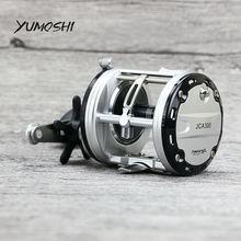 Купить с кэшбэком YUMOSHI JCA200/300/400/500 Cast Drum Wheel 12+1 Ball Bearings Bait Casting Fishing Reel Carretilhas De Pescar for Saltwater
