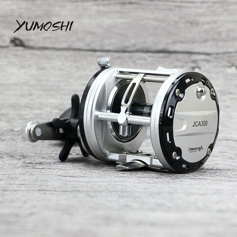 YUMOSHI JCA200/300/400/500 Guss Drum Rad 12 + 1 Ball Lager Köder Casting Angeln Reel carretilhas De Pescar für Salzwasser