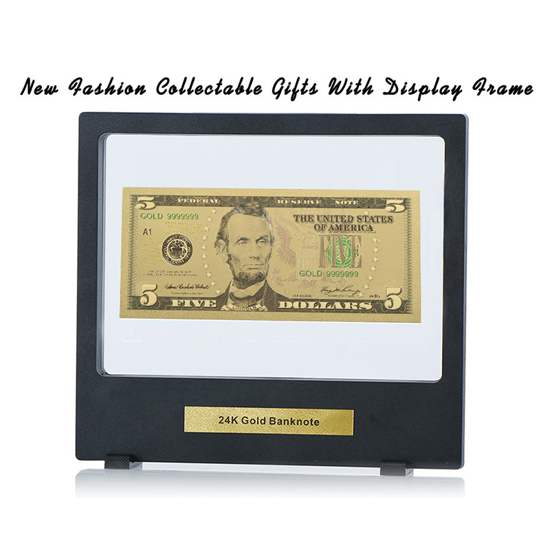 WR USD 5 Dollar 24k Pure Gold Fake Money Birthday Souvenir Gifts Banknote Art Crafts With