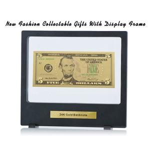 WR USD 5 доллар 24k чистое золото поддельные деньги подарки сувениры на день рождения золотые банкноты художественные поделки с Выставочной под...