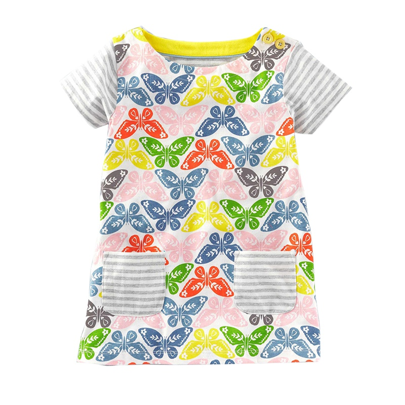 2017 Cotton Baby Girls Dress Summer Children's Clothing Kids Clothes Baby Short Sleeve Casual Dress Girls