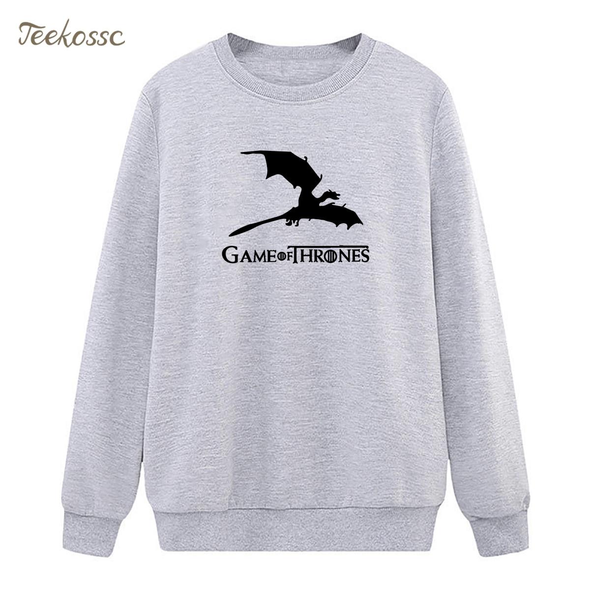 Game of Thrones Sweatshirt Dragons Hoodie 2018 Hipster Winter Autumn Women Lasdies Pullover Fleece Warm Loose Hip Hop Streetwear