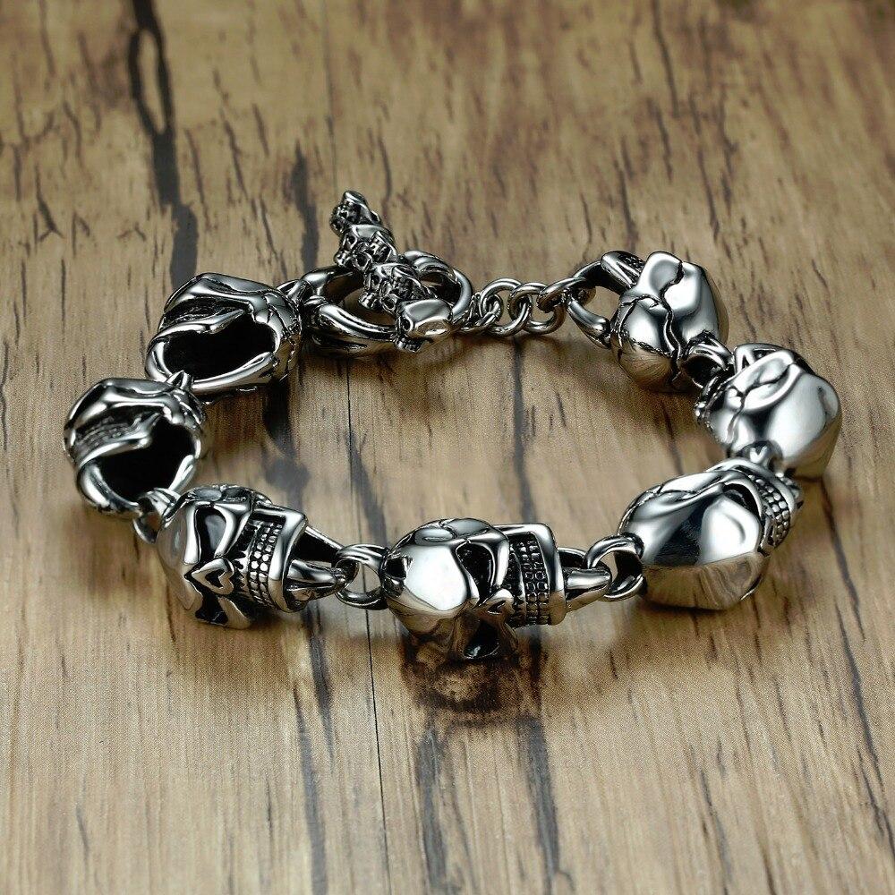 6b2f6ff5e757 Los hombres cráneo pulseras de acero inoxidable cráneos cabeza cadena  pulsera brazalete gótico Punk Biker Color de plata de la joyería pulseira  calavera