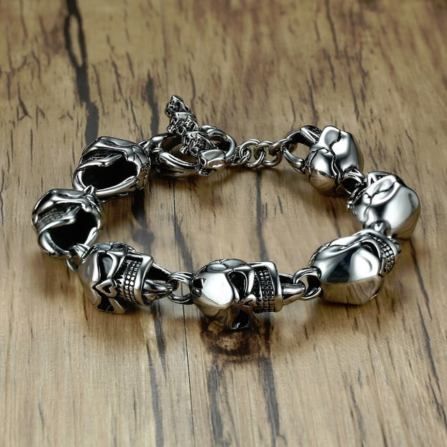 Men Skull Bracelets Stainless Steel Skulls Head Chain Bangle Bracelet Gothic Punk Biker Jewelry Silver Color