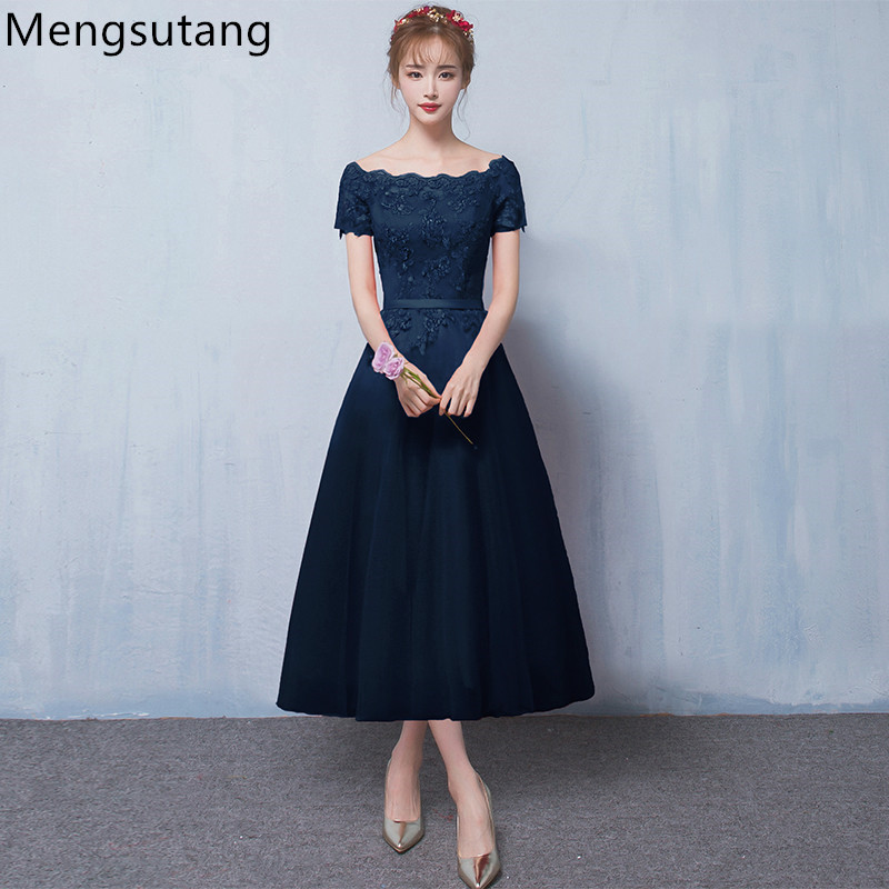 Robe de soiree 2019 New arrival Navy blue lace up evening dress with Appliques Party Dresses prom dresses tailor Custom made