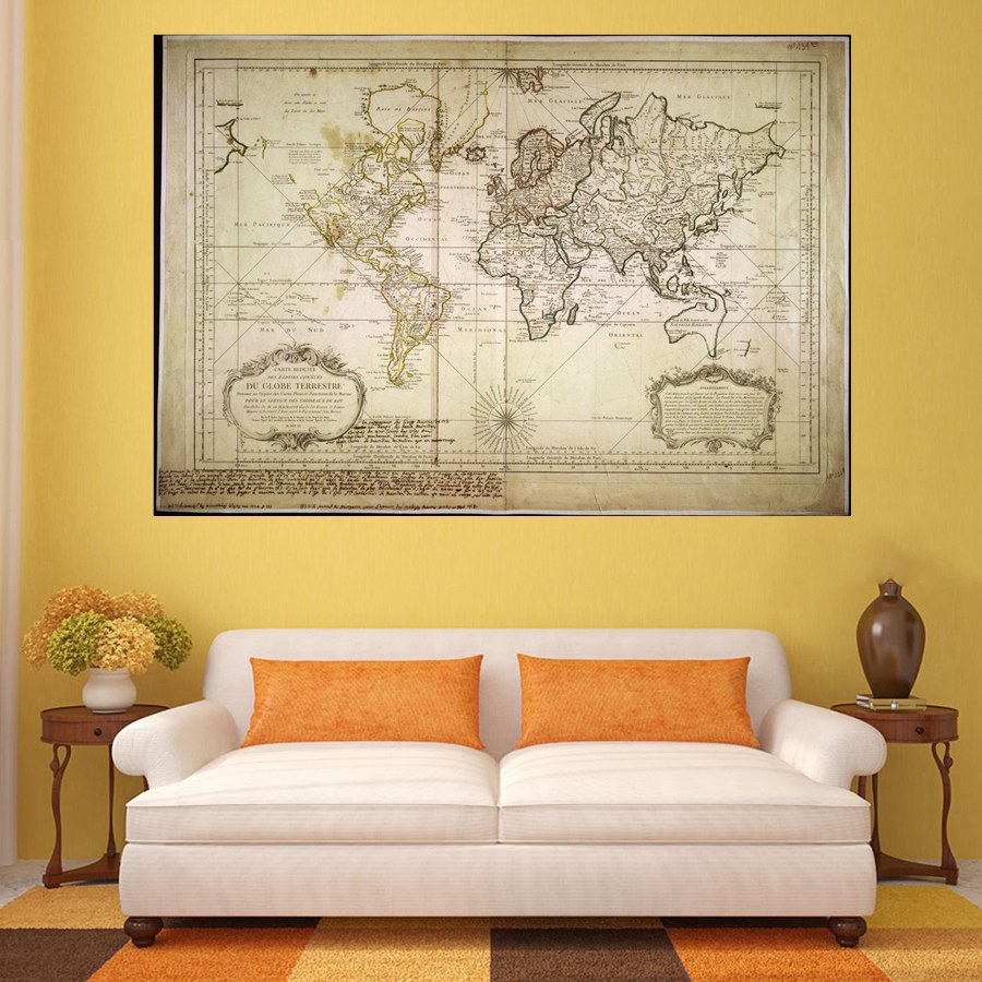 Classical Retro Global Map Home Decorations Artwork HD Prints Canvas ...