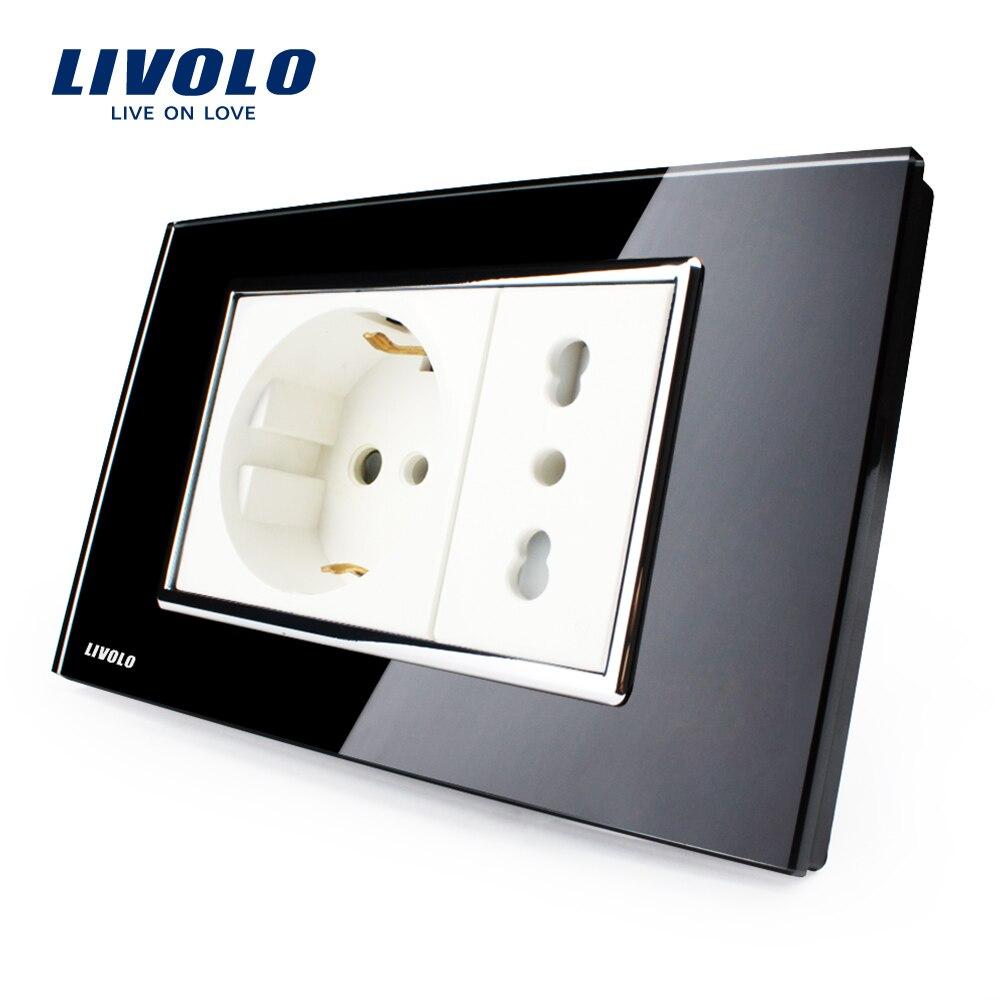 Livolo Italian Socket, Black Tempered Glass, 10A/16A, AC 250V, Wall Powerpoints Without Plug,VL-C3C2CIT-82 livolo us standard 2 pins socket white crystal glass 10a ac 125 230v wall powerpoints with plug vl c3c3a 81