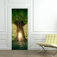3D Wall Stick Fantasy Tree House in Forest Renovation Waterproof Self Adhesive Home Decor Door Sticker for Livingroom Bedroom