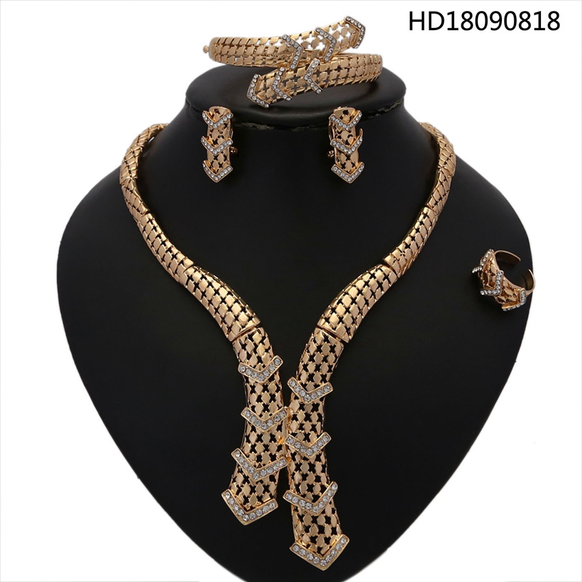 YULAILI New Arrival Jewelry Sets African Bead Statement Necklace Earrings Bracelet Ring Women Wedding Party Accessories viennois new blue crystal fashion rhinestone pendant earrings ring bracelet and long necklace sets for women jewelry sets